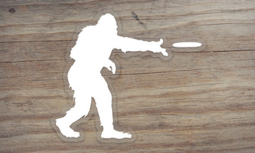 Sasquatch Frisbee Clear Die Cut Sticker
