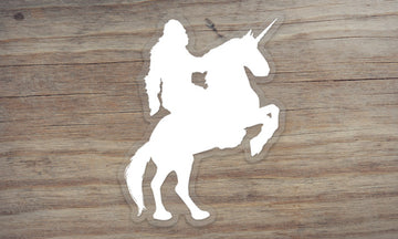 Sasquatch Riding a Unicorn Clear Die Cut Sticker