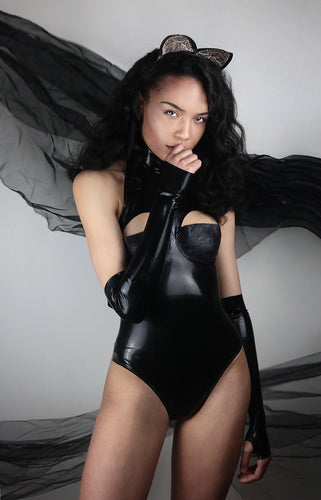 High neck bodysuit with latex-lace cups