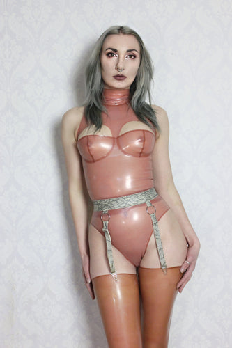High neck latex cup top