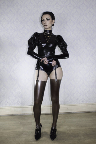 Puff sleeve latex bodysuit
