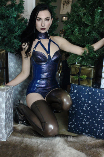 Bondage strap bodysuit with glitter-mesh latex accents