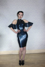 Cold shoulder latex dress