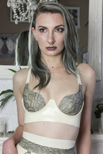 Curvy latex-lace cup bra