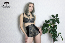 Deluxe high waisted latex briefs with embellished latex-lace panel.