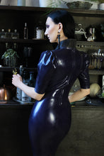 Elegant latex pencil dress with textured collar