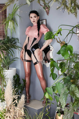 Calliope latex-lace suspender girdle/corset