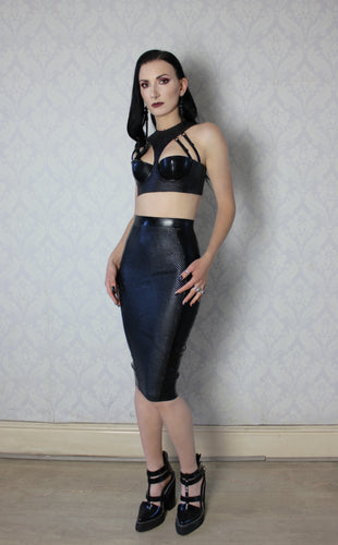 Latex-net panel pencil skirt