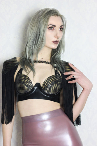 Latex-net cup plunge bra