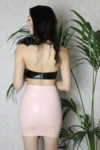 High waisted latex mini skirt