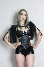 Latex-lace fringe shoulder pads