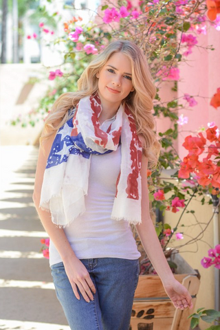 Tattered American Flag Scarf