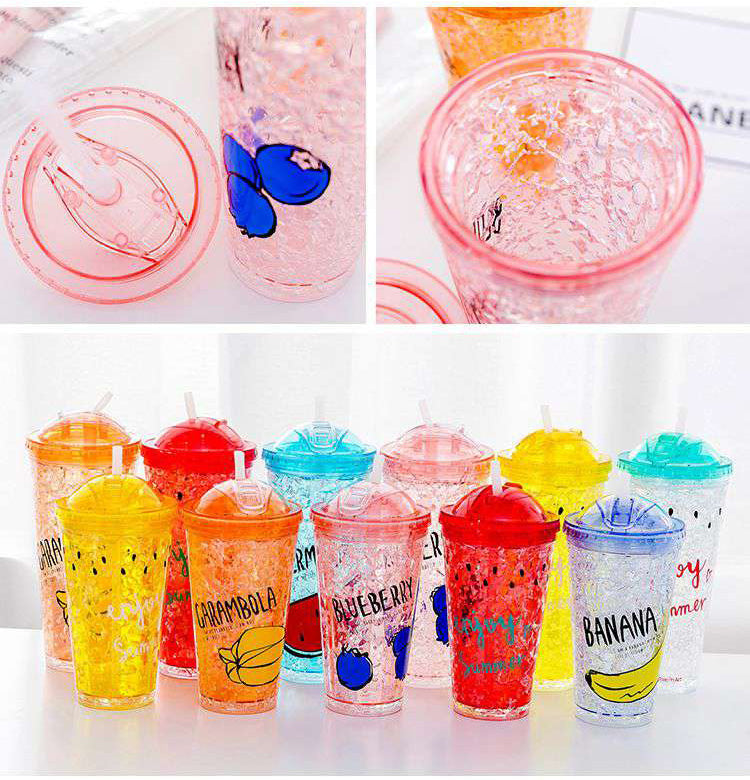 Double Layer Ice Cup Plastic Water Bottle