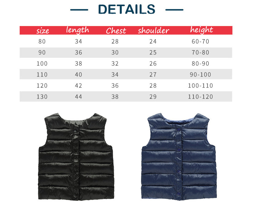 Children Winter Vest Size