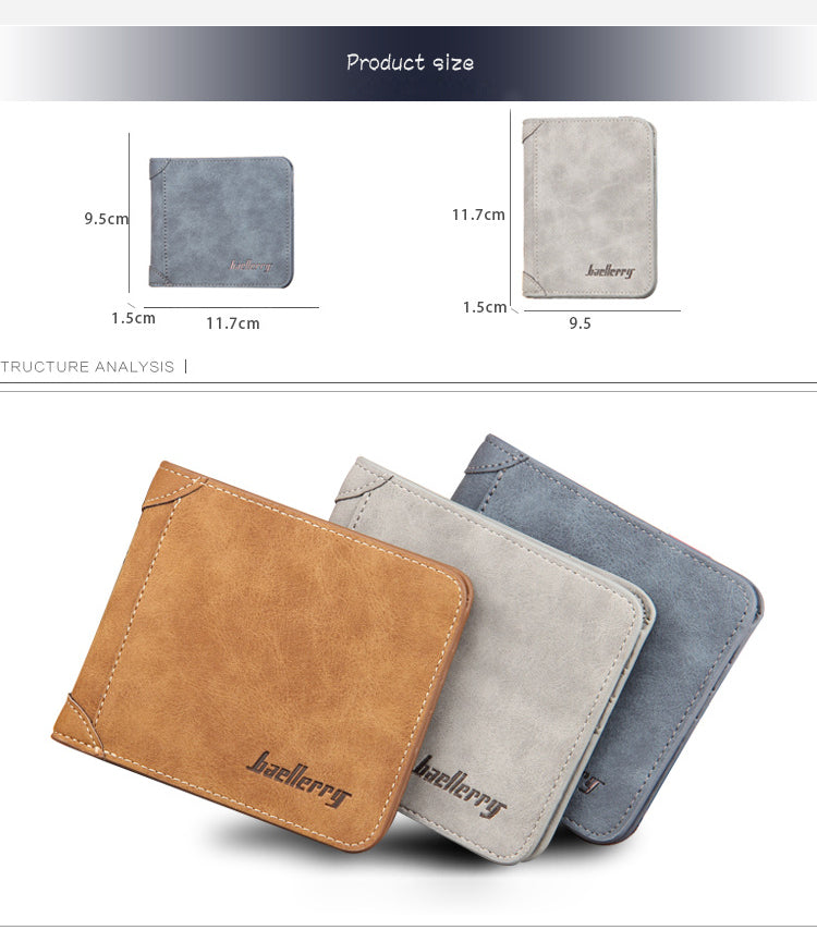 Men Wallet Leather Vintage Purses HQ Money Bag Credit Card holders product size