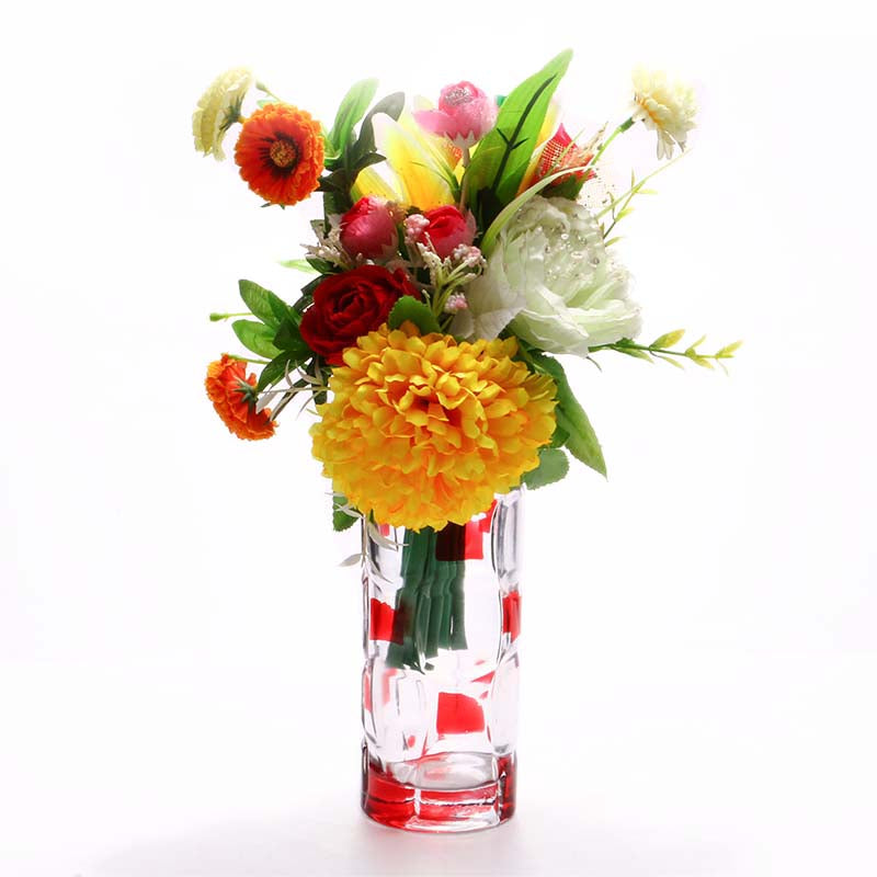 White Red Glass Flower Vase