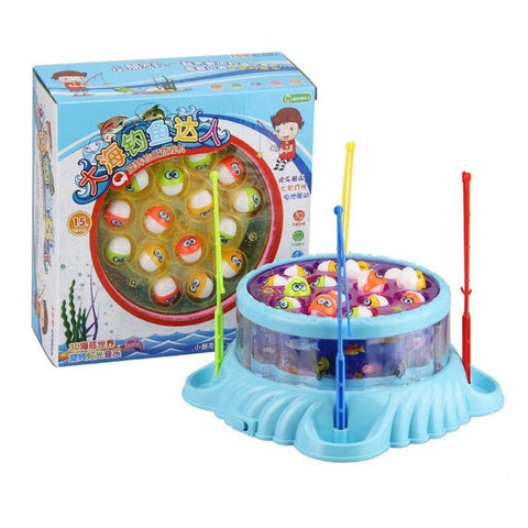Fishing toy playset with 4 fishing rods,musical fishing toy