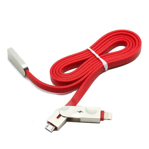 2 in 1 Data Cable Mobile Charging cable 1 Meter - Micro USB + iPhone Lightning