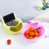 Circular Plastic Double Deck Snacks Storage Boxes ,With Cellphone Holder