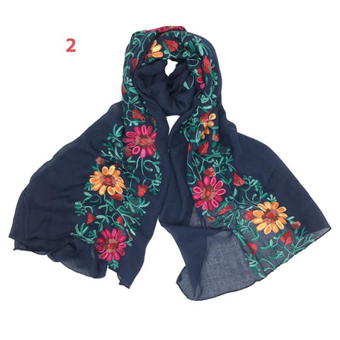 Spring Fashion Scarf With Embroidery