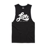 Unisex White On Black Muscle Tank