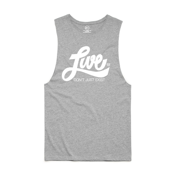 Unisex White On Grey Muscle Tank