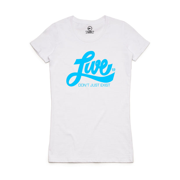 Blue On White LiveCo. T-Shirt
