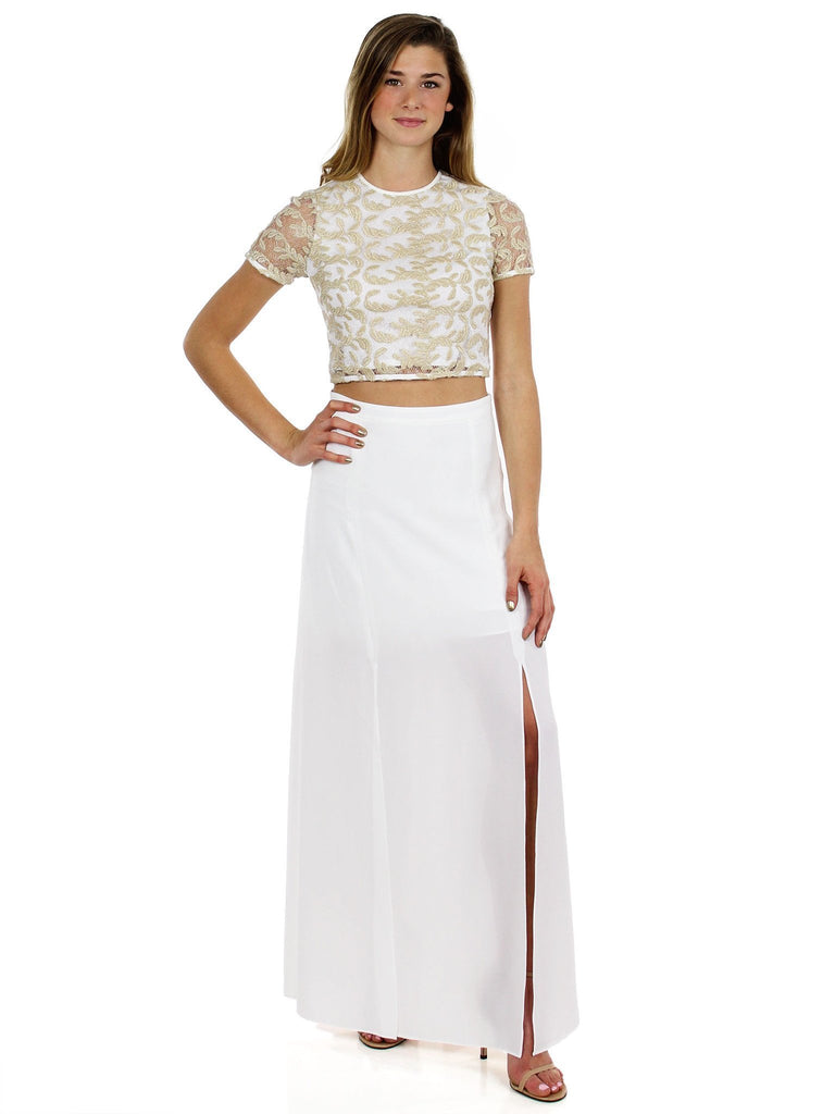 Women outfit in a dress rental from Ali & Jay called Kennedy Maxi Dress