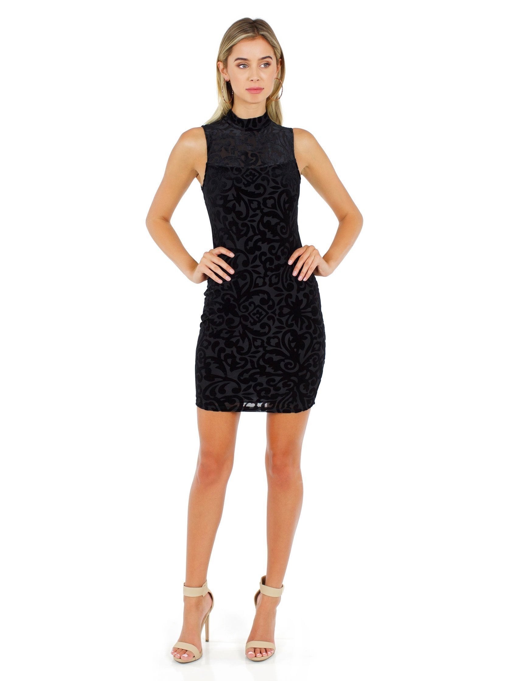 Girl outfit in a dress rental from AQUA called Velvet Burnout Mock Dress