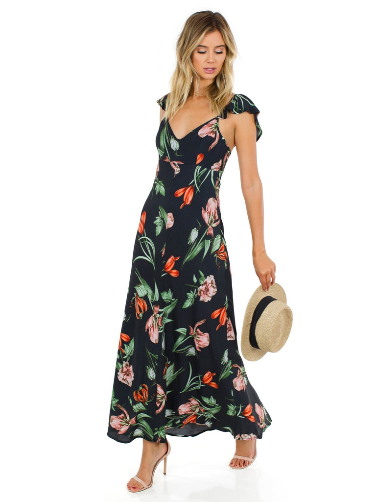 Women wearing a dress rental from ASTR called Kennedy Maxi Dress