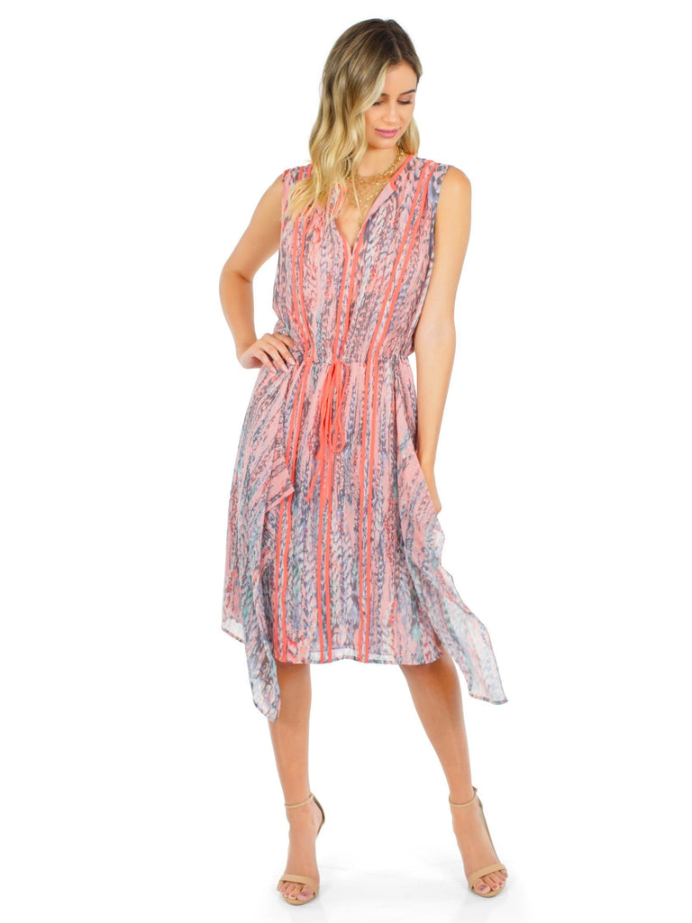 Women wearing a dress rental from BCBGMAXAZRIA called Liya Print-blocked Draped Dress