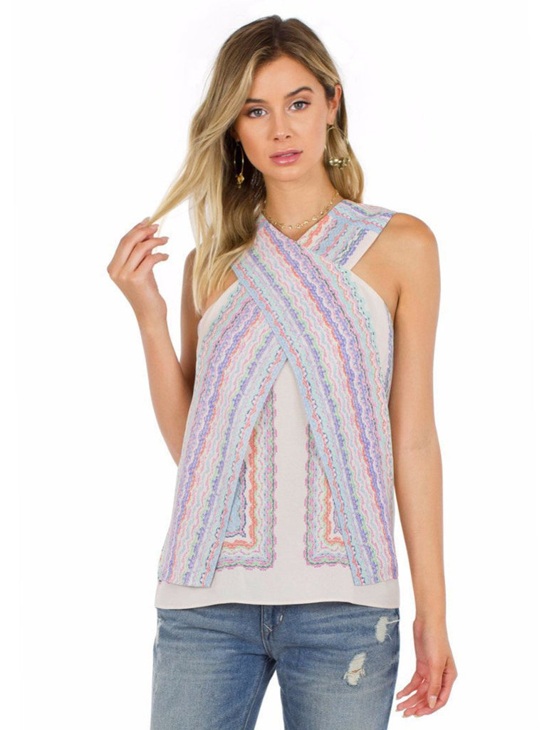 Women wearing a top rental from BCBGMAXAZRIA called Maryssa Wrap Tank