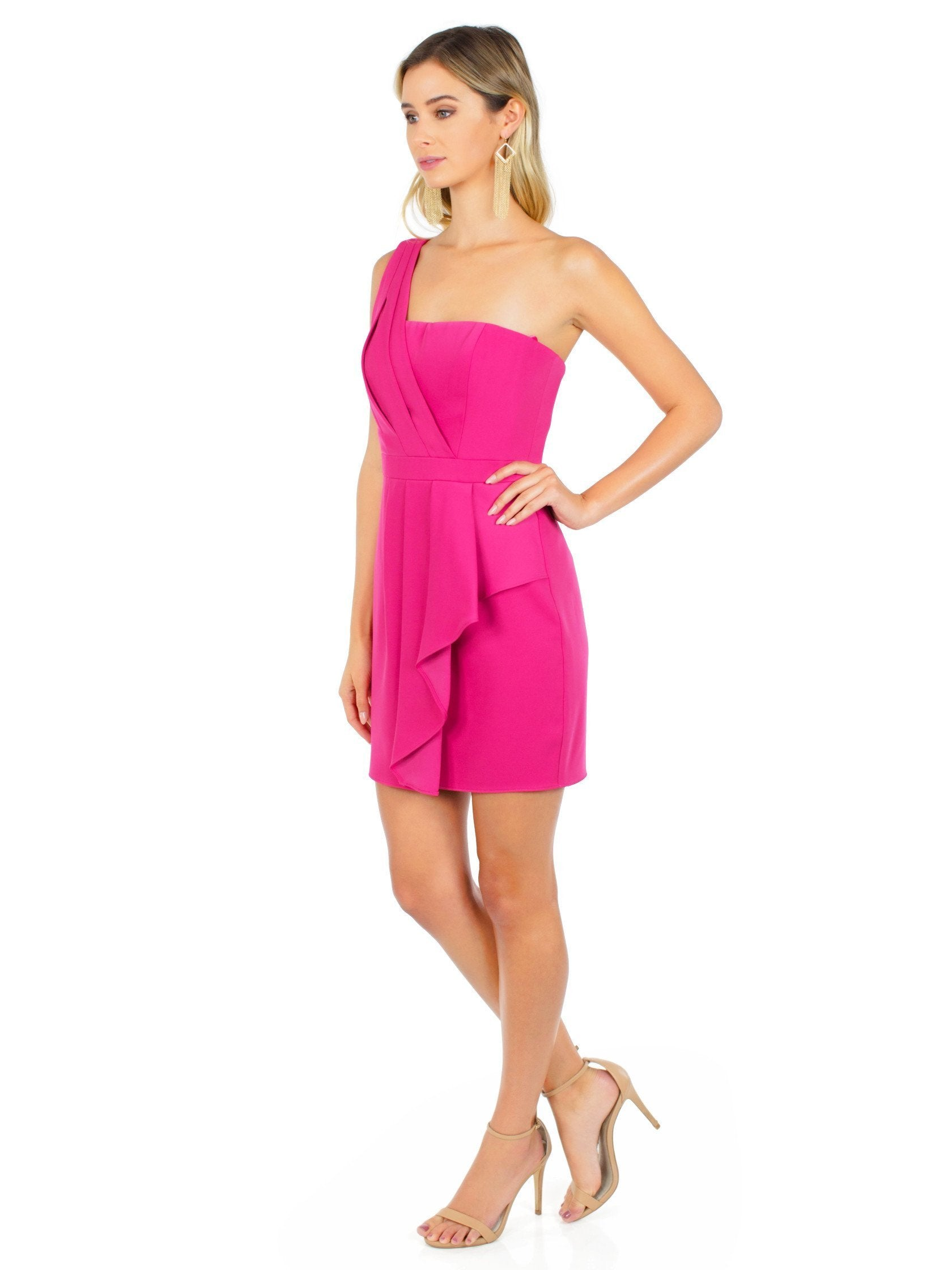 Woman wearing a dress rental from BCBGMAXAZRIA called Vanessa One-shoulder Cascade Ruffle Dress