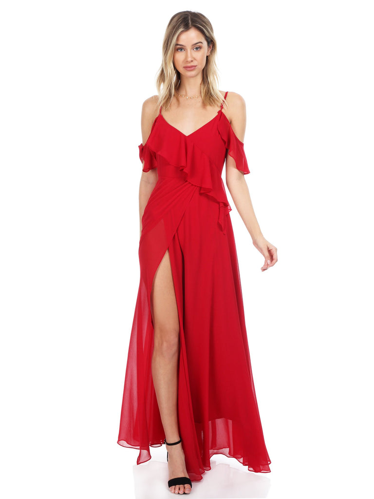 Women wearing a dress rental from YUMI KIM called Allegra Faux Wrap Maxi Dress