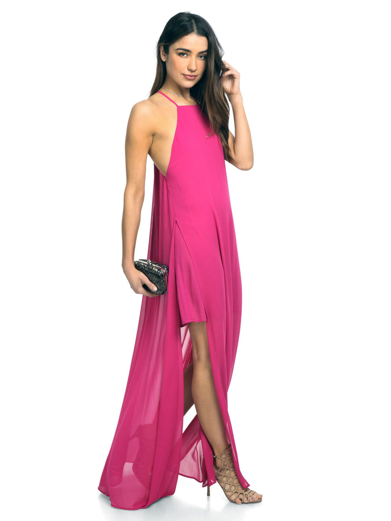 Girl wearing a dress rental from Show Me Your Mumu called Velvet Saskia Maxi Dress