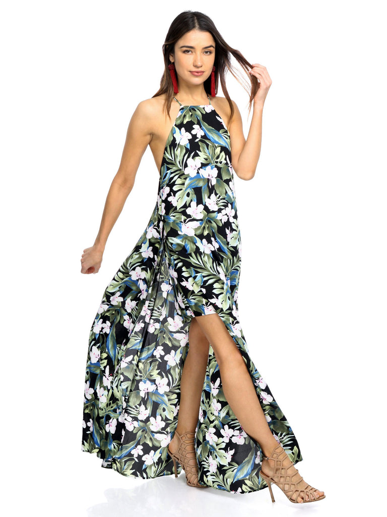 Woman wearing a dress rental from Show Me Your Mumu called Floral Burnout Strap Dress