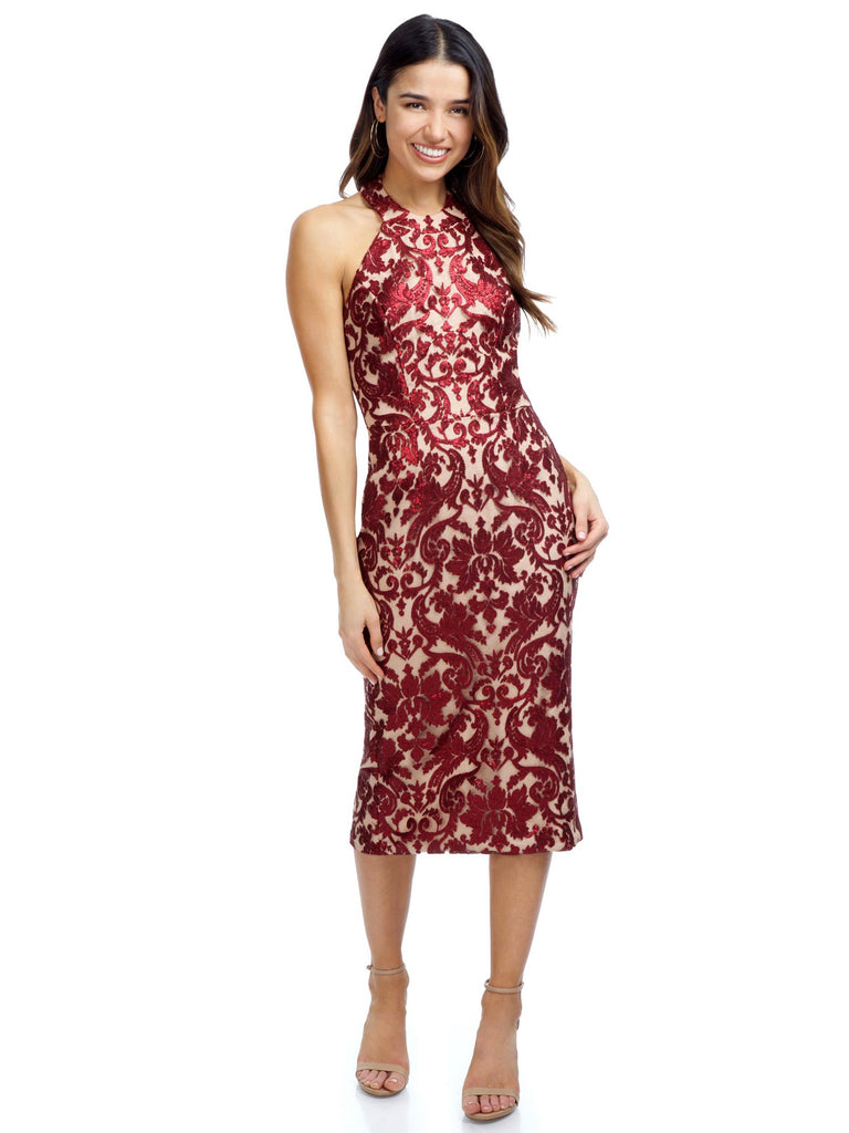 Woman wearing a dress rental from Dress the Population called Velvet Burnout Mock Dress