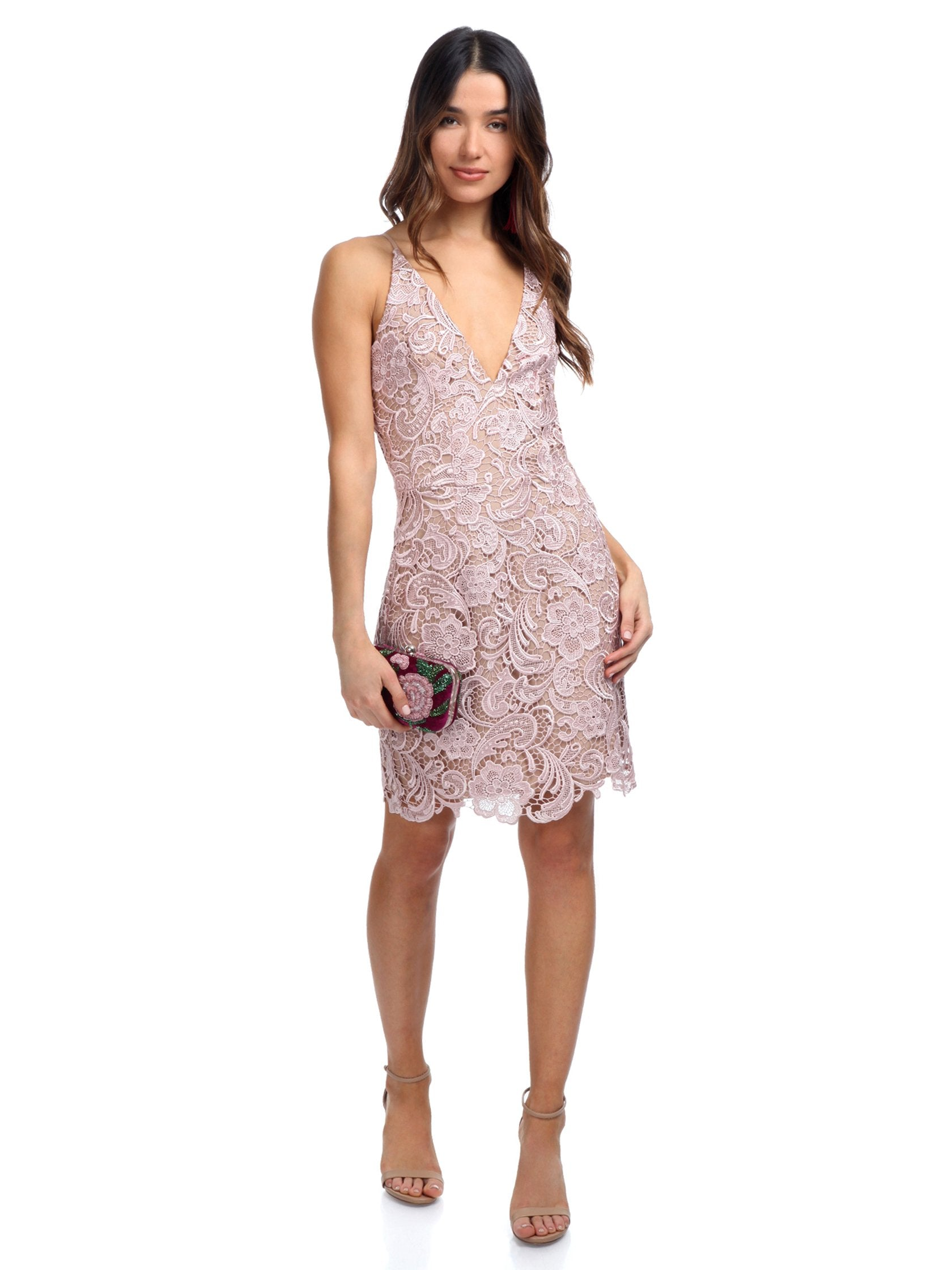 Girl outfit in a dress rental from Dress the Population called Allie Sheath Dress