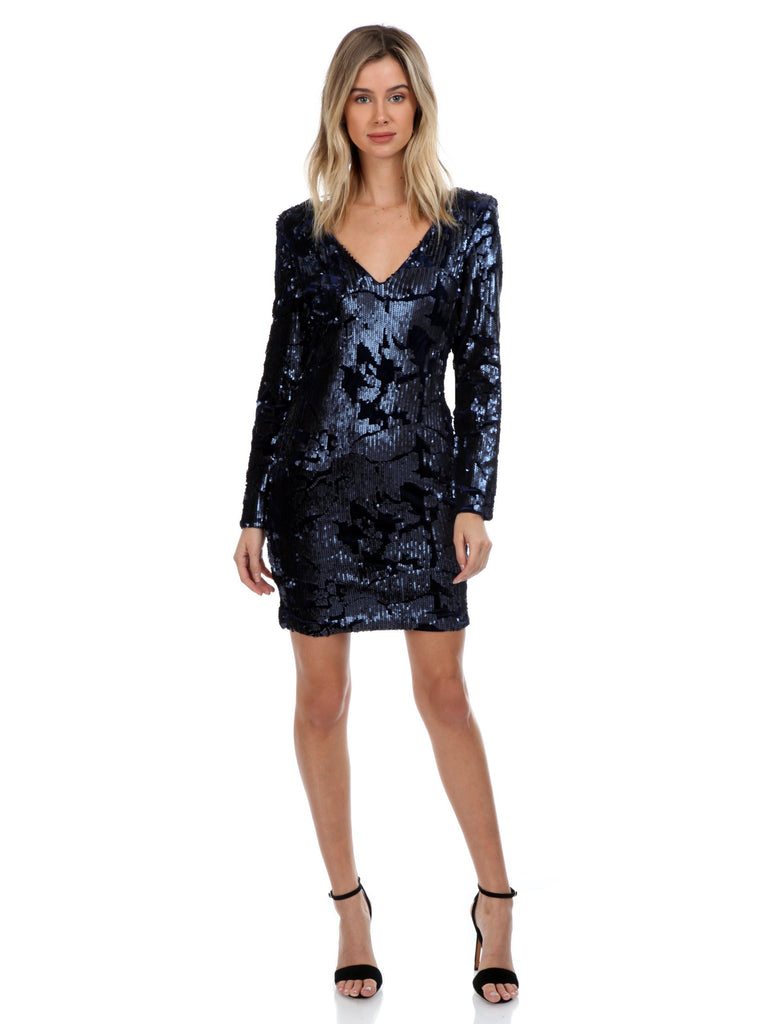 Women wearing a dress rental from WYLDR called Eveline Mini Sequin Dress