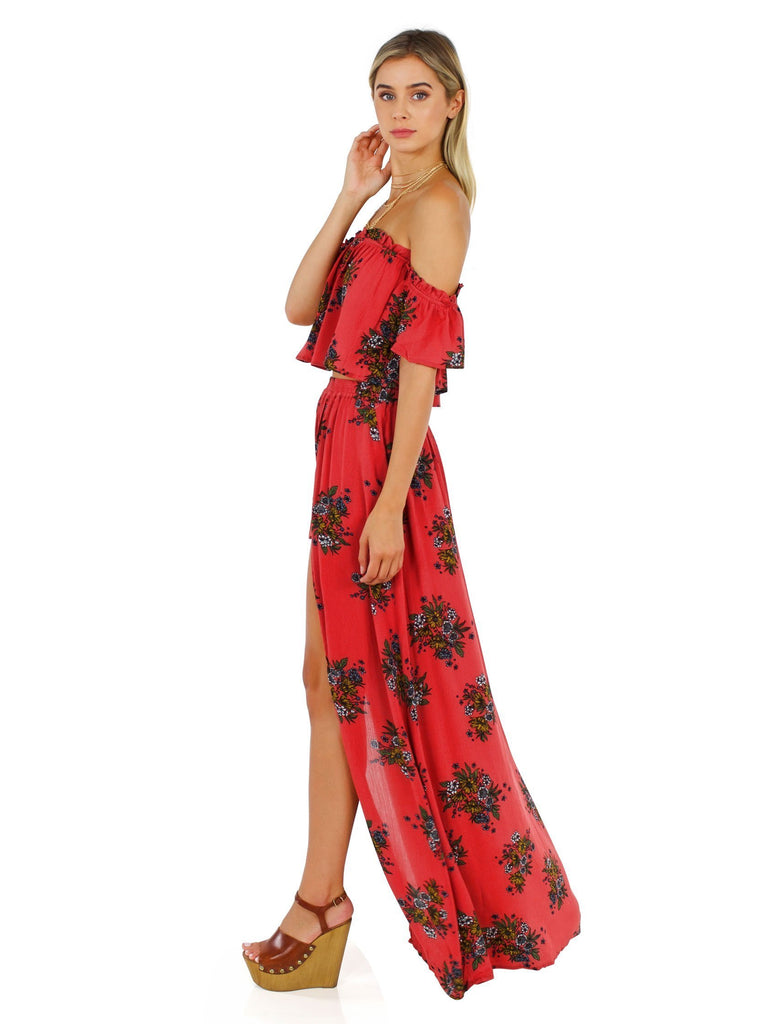 Women outfit in a two piece rental from FashionPass called Kennedy Maxi Dress
