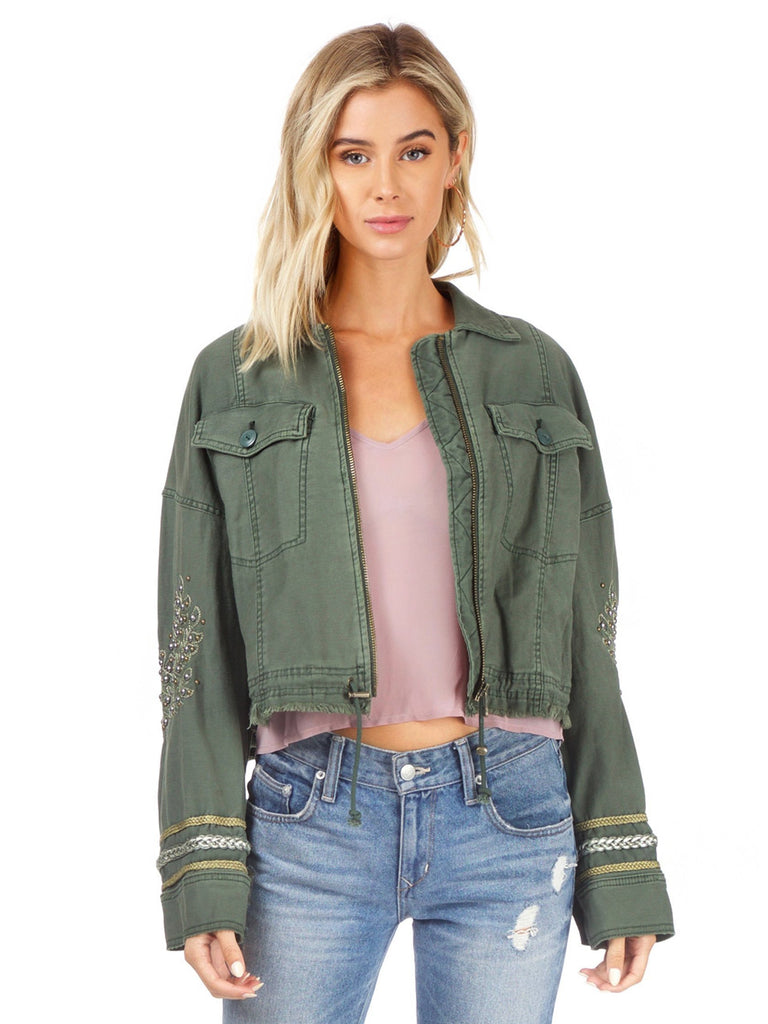 Women wearing a jacket rental from Free People called Extreme Cropped Military Jacket