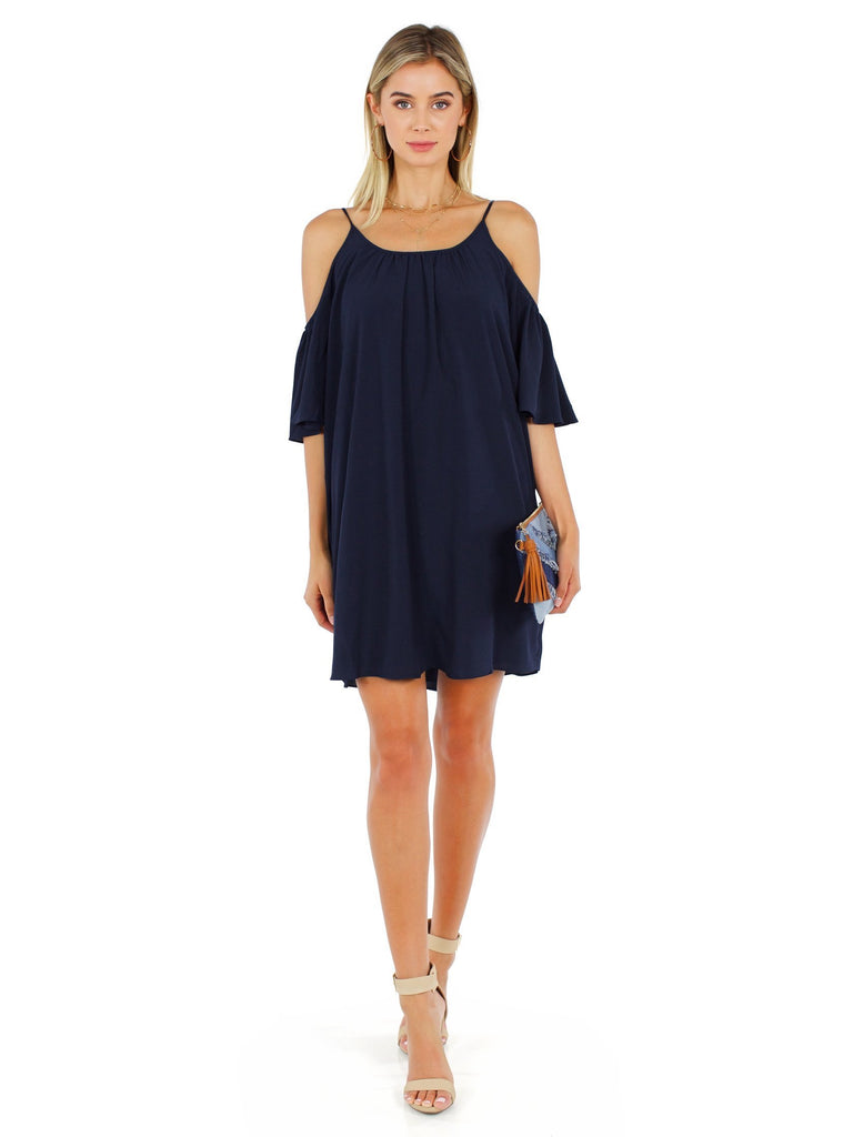 Women wearing a dress rental from French Connection called Polly Plains Cold Shoulder Dress