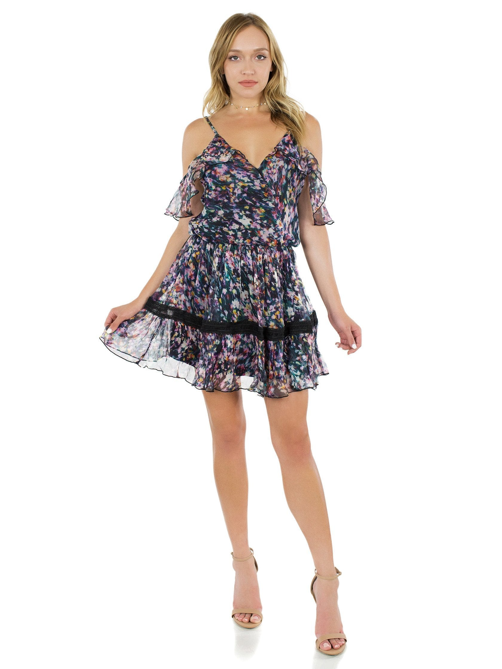 Girl outfit in a dress rental from Karina Grimaldi called Aiden Print Mini Dress