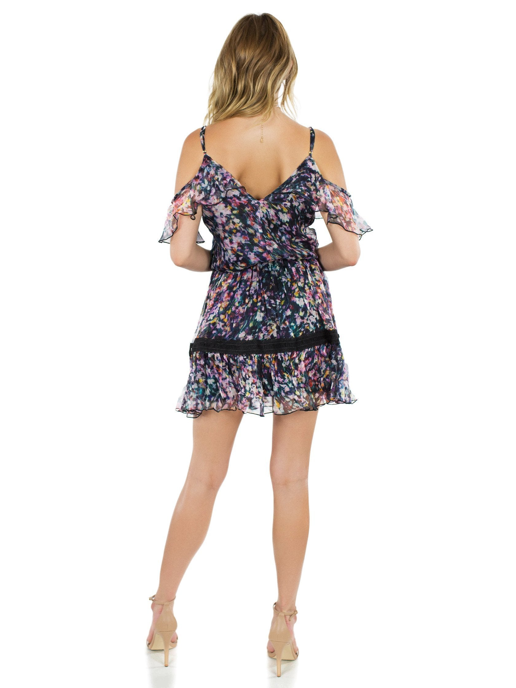 Women wearing a dress rental from Karina Grimaldi called Aiden Print Mini Dress