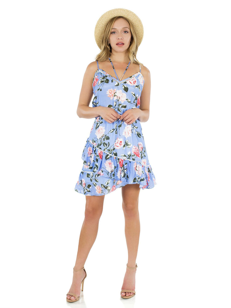 Girl wearing a dress rental from Karina Grimaldi called Aiden Print Mini Dress