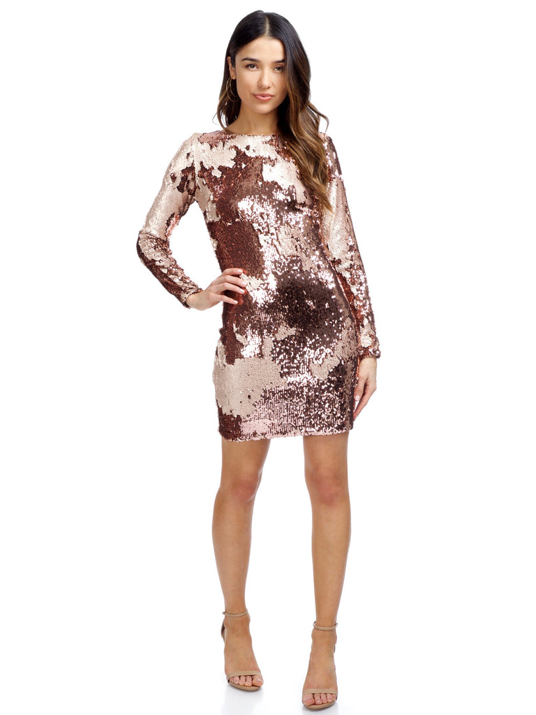 Women wearing a dress rental from Dress the Population called Lola Sequin Mini Dress