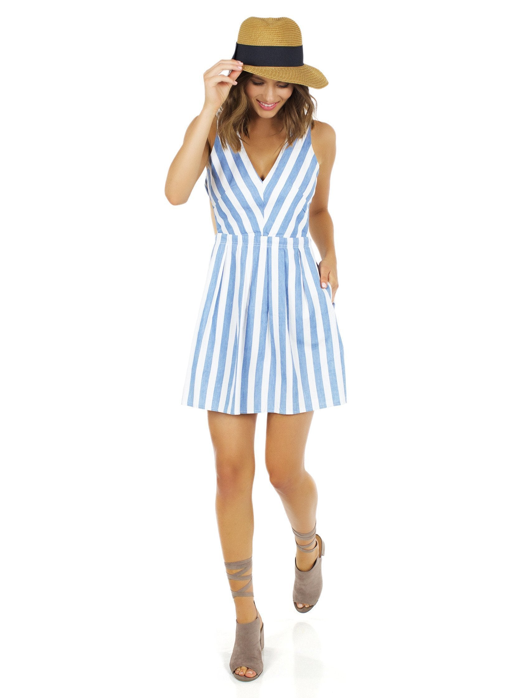 Girl outfit in a dress rental from Lost In Lunar called Alexis Stripe Dress