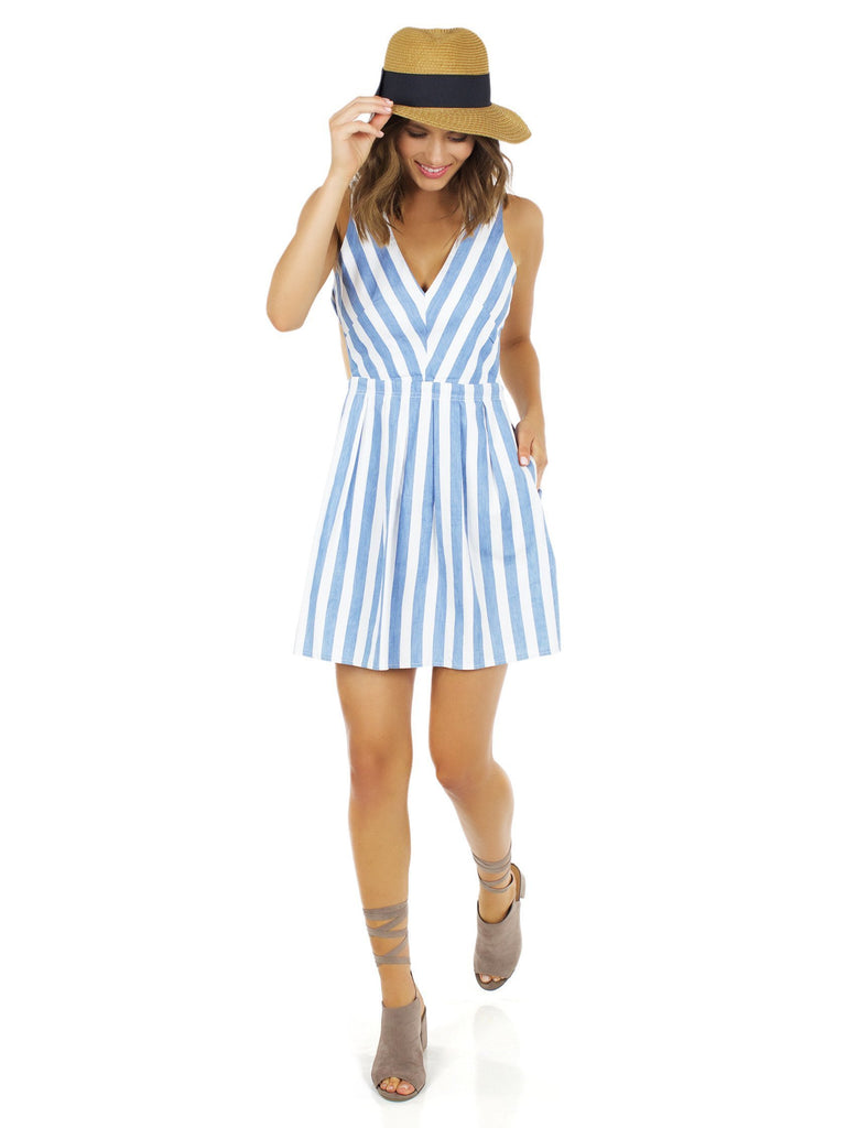 Women wearing a dress rental from Lost In Lunar called Alexis Stripe Dress