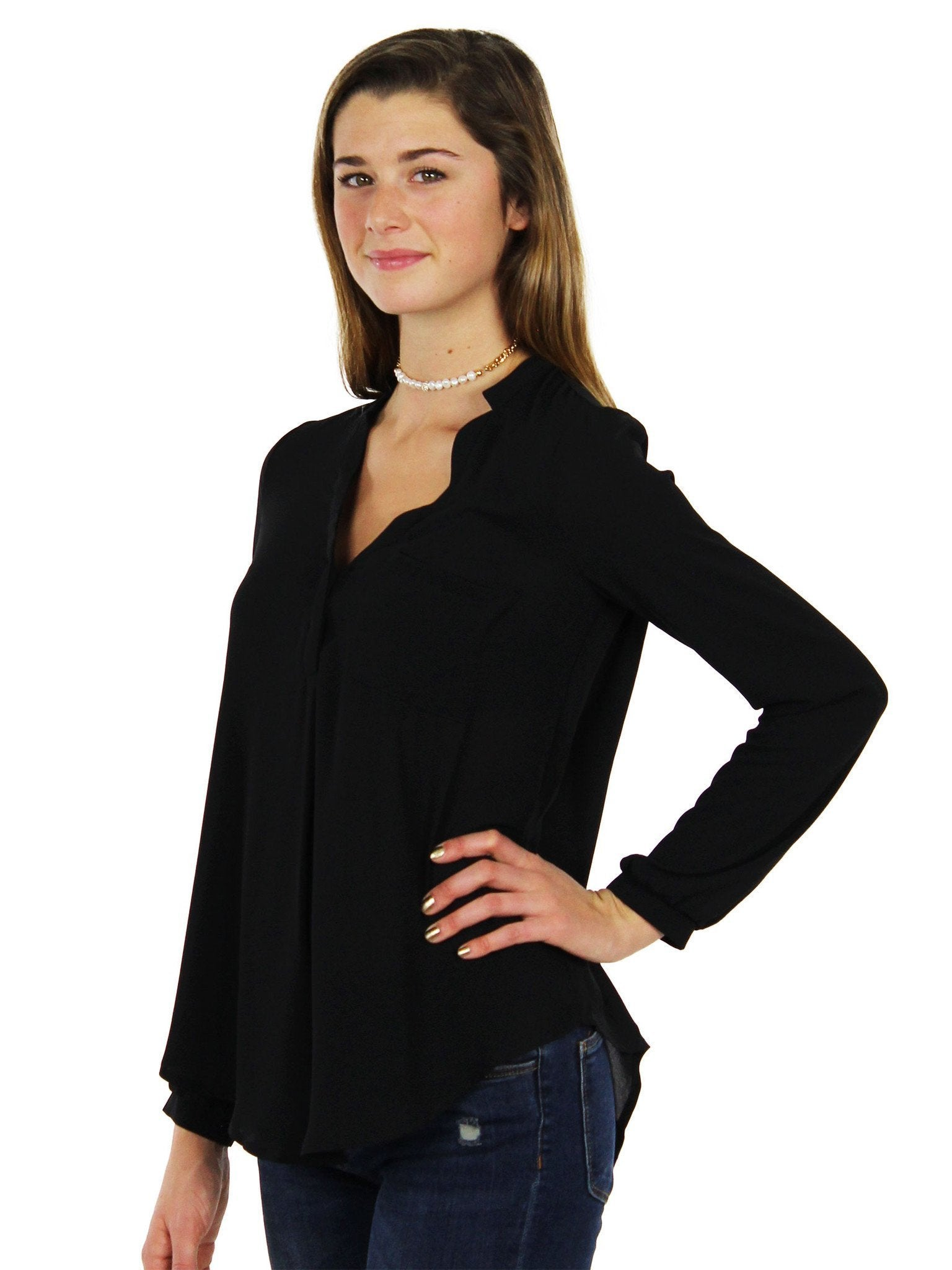 Woman wearing a top rental from Lush called Back To Basics Tunic