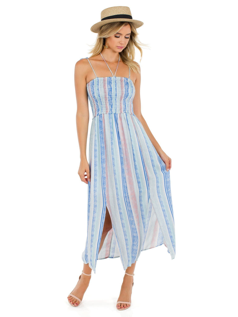 Woman wearing a dress rental from Lush called Take A Chance Romper